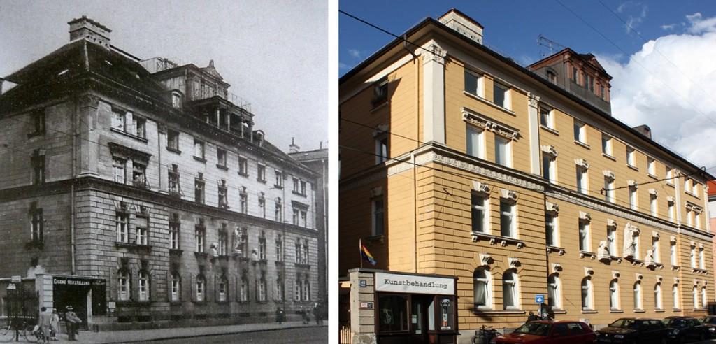 Die Merz'sche Werkstatt um 1900 und im Jahr 2011.